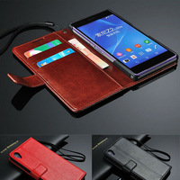 Deluxe Red Black Pink Pu Leather Case For Sony Xperia Z2 L50W Wallet With Stand Phone Bag Cover Free Shipping