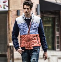 men PU leather patchwork stand neck winter jacket, fashion warm man coats 62003