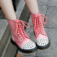 Newest european style 8 hole 1460 brand women genuine leather boots punk rivets martin boots fashion casual lace up boots PINK