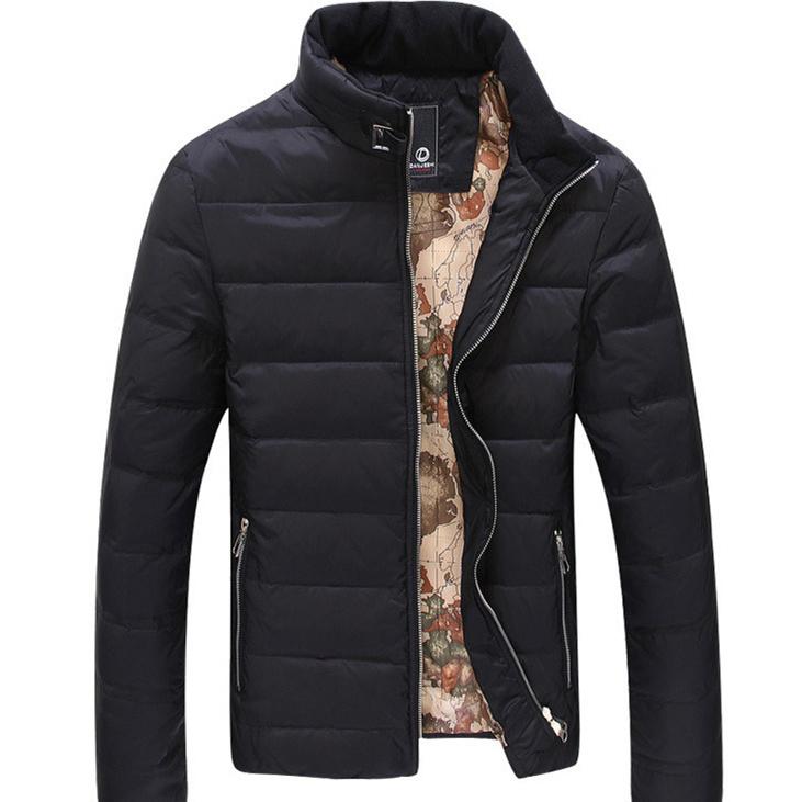 Limpar o armazém 2014 outono e inverno dos homens quentes para baixo casaco jaqueta de gola alta homens casual fit cashmere casaco 3 cores(China (Mainland))