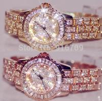Women Dress Bling Watches Luxury Brand Full Diamond Quartz Watch Rhinestone Casual Silver Gold Big Dial 2014 Fashion