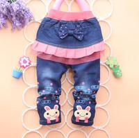 4PC/LOT autumn girl jeans skirt cartoon baby pants denim kids clothing children trousers PANYA PYF10
