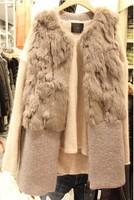 2014 autumn and winter medium-long rabbit woolen sweater vest outerwear overcoat female