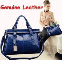 New 2014 Fashion Oil Wax Leather Female Handbags Vintage Brief OL Bags Big Shoulder Bag Women Messenger Bag Bolsas Femininas