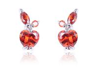100% Handmade christmas gift crystal apple stud earrings dazzling heart cut swiss AAA cubic zircon diamond earrings for girls
