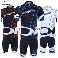 Free shipping! Orbea 2014 red&blue&white short sleeve cycling jersey bib shorts set bike wear clothes jersey pants gel pad