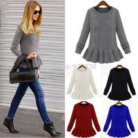 2014 autumn winter  Women Vintage Peplum o-neck Long Sleeve Knitted Pullover Jumper Loose Sweater Knitwear