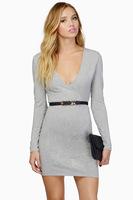 2014 Autumn Fashion Women Sexy V-Neck Long Sleeve Pencil Dress Party Club Bodycon Casual Dresses