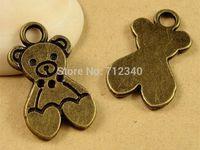 100Pcs Bear Charms Pendant Antiuqe Bronze Tone DIY Jewelry Making