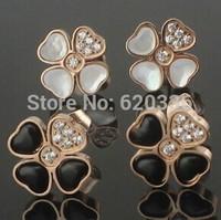 rose plated titanium steel black&white clover crystal earrings