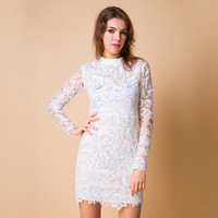 new 2014 women sexy pencil lace autumn winter full sleeve above knee mini slim package hip bodycon mandarin collar dress S-4XL