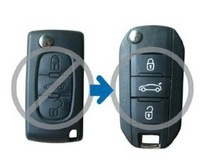 3 BUTTON Modified Flip REMOTE KEY FOB CASE key shell  For Peugeot 407 (With Battery Holder)