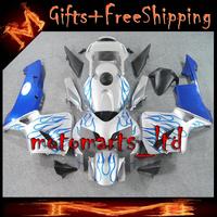 * INJ Fairings For HONDA CBR600RR 2003 2004 Plastic Fairing Fit blue flames silver CBR 600 RR CBR600RR CBR600 2003 2004 19 W6- I