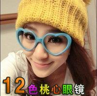 5Pcs/Lot Love glasses big box heart plain glass lens female eyeglasses frame free shipping