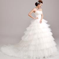 Princess bride tube top bandage train lace wedding dresswinter 3268#