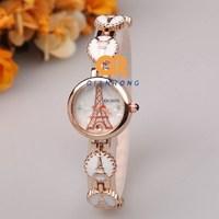 The Eiffel Tower cartoon watch women classic ceramic band watches fashion quartz watch quality designer watches stainless steel