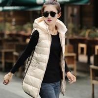 winter dressWomen's vest 2014 women's slim fashion medium-long with a hood wadded jacket outerwear