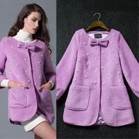 New arrival 2014 fashion ladies gentlewomen elegant beading wool overcoat outerwear