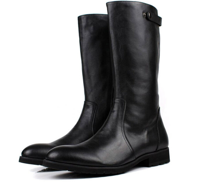 TOP quality fashion brand black winter mens boots genuine leather mens thigh high boots motorcycle boots mens winter shoes(China (Mainland))