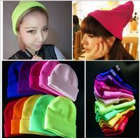 13 Colors Free Shipping New 2014 Fashion Knitted Neon Women Beanies Skullies Girls Autumn Caual Cap Warm Winter Hats Unisex