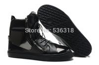 GZ origianl punk genuine leather height increasing black Litchi grain zipper men and women lovers sneakers,EUR35-46,brand shoes