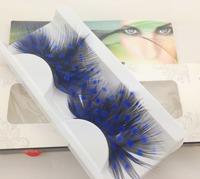 wholesale fashion blue & black false eyelashes for party  False eyelashes Halloween feather eyelashes