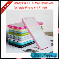 New 8 Colors Colorful Candy PC + TPU Matt Hard Cover Case for Apple iPhone 6 4.7'' Inch Back Cover Case free shipping