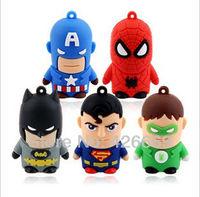 DHL free shipping Fashion Cute Cartoon Superman 8GB 16GB 32GB 64GB 128GB 256GB 512GB USB Flash 2.0 Memory Drive Stick Pen drive