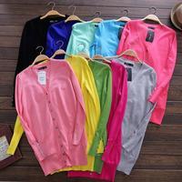2014 Hitz European and American style street pocket cardigan sweater Girls long wool coat tide