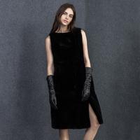 Autumn fashion women's sleeveless o-neck pullover long design rex rabbit hair fur one-piece dress