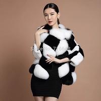 Ballet queen fox fur mink sleeves black and white plaid fur coat bl8096