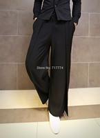 Free shipping 2014 fashion vintage wide leg pants mens casual pants lacing western-style novelty culottes boot cut pants