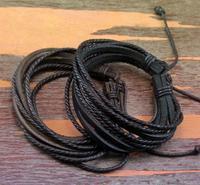 Free Shipping, Wholesale 6Pieces/lot Fashion Women Men Brown Black Wrap Hemp Leather Braided Rope Cuff Bracelet Charm Jewelry