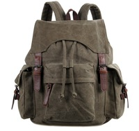 9017N Canvas and leather Lady&Man Trendy Backpack Bag Army Green color