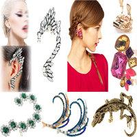 Fashion Punk Crystal Ear Cuff Earrings Women Mixed Styles Vintage Gecko/Crystal Flower Clip Earrings Ear Wrap Cuff Gift Gift