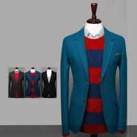 New arrival 2014 Pure Simple two button  men's suit Casual fashion comfortable Men wool blazer  3 colors Wholesale