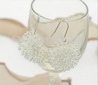 2014 Hot wholesale , Free Shipping Costume Jewellery Shiny Silver Plated Dandelion Flower Drop Dangle Earrings
