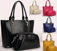 2014 New Fashion Women Quality PU Leather Handbags Office Lady's Shoulder Bags Messengers 2 pcs/set Casual Tote Bolsas Femininas