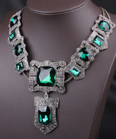 2014 New Noble Victoria Vintage Green Crystal Necklace & Pendant Chunky Chain Jewelry Free Shipping