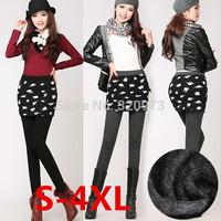 S-4XL size women winter slim skirt leggings 2014 korean style extra plus size stretchy thick warm nine leggings free shipping
