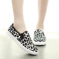 2014 fashion leopard print canvas shoes casual flats women dawdler pedal shoes