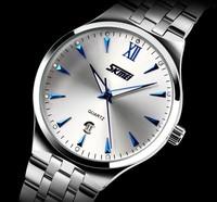 2015 Men's Full Steel Quartz Watch Men Casual Fashion Dress Wristwatch with Calendar 30m Waterproof Man Business Clock Hour 9071