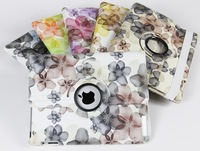50pcs 360 Rotating Case Cover For iPad 2 3 4 Lucky Flower Design PU Leather Case Free DHL