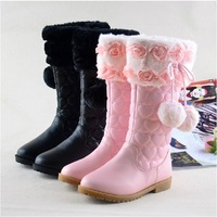 2014  winter female child boots female child high-leg pink princess shoes , size26-38,Free shipping