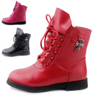 2014 children shoes cotton thermal children boots genuine leather female child cowhide boots