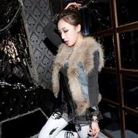 Fur coat denim patchwork short design fur short design fur vest