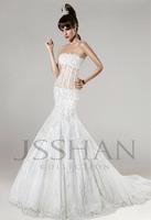 Strapless Mermaid Wedding dresses Sleeveless Appliques Beading  Chapel Train  White Wedding Dresses Bridal Gowns
