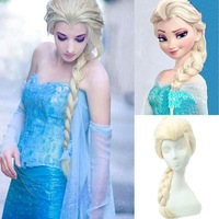Hot Sell Synthetic Cosplay Hair Long Curly Hair Wigs Frozen Snow Queen Anna Elsa Long Anime Wigs#L04169