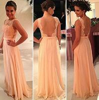 Vestido De Festa Peach Long Chiffon A-Line Formal Evening Gowns Nude Back Lace Prom Dresses Plus size Hot Vestidos