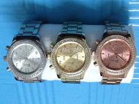 Men's rose gold diamond three steel quartz watch gold watch business